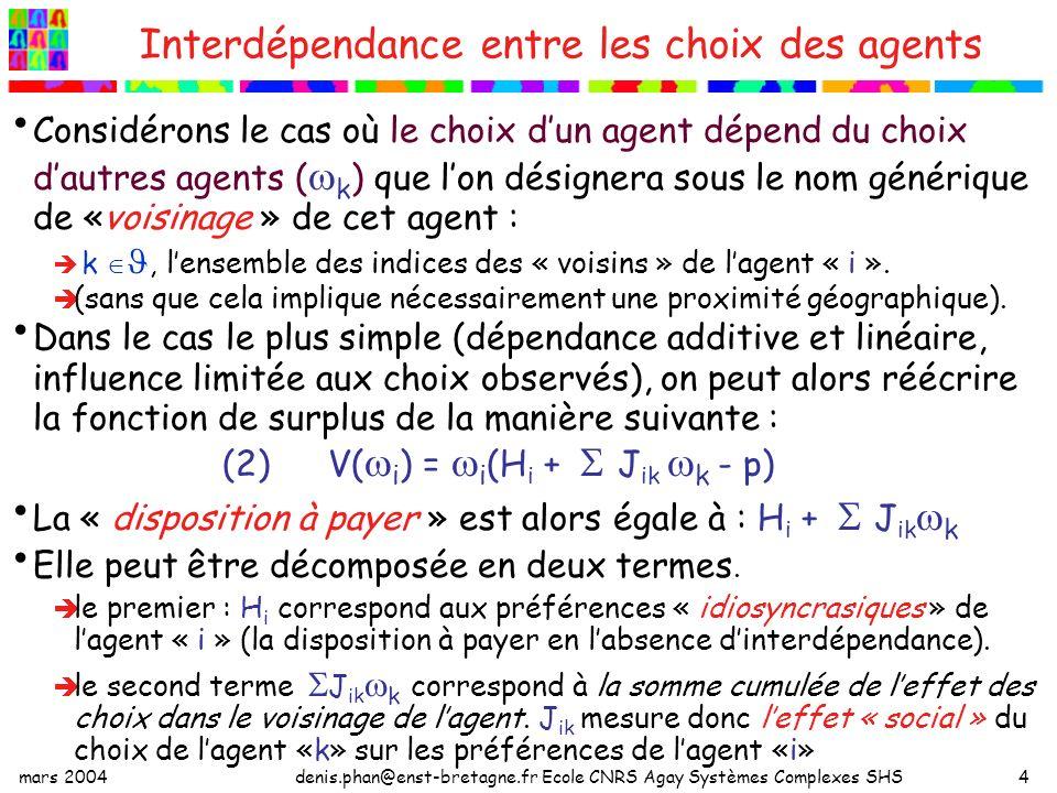 mars 2004denis.phan@enst-bretagne.fr Ecole CNRS Agay Systèmes Complexes SHS4 Interdépendance entre les choix des agents Considérons le cas où le choix dun agent dépend du choix dautres agents ( k ) que lon désignera sous le nom générique de «voisinage » de cet agent : k, lensemble des indices des « voisins » de lagent « i ».