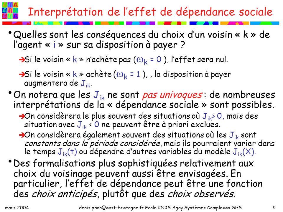 mars 2004denis.phan@enst-bretagne.fr Ecole CNRS Agay Systèmes Complexes SHS5 Interprétation de leffet de dépendance sociale Quelles sont les conséquences du choix dun voisin « k » de lagent « i » sur sa disposition à payer .