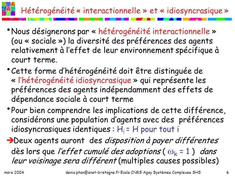 mars 2004denis.phan@enst-bretagne.fr Ecole CNRS Agay Systèmes Complexes SHS7 Une formulation plus générale On peut donner une formulation plus générale à notre fonction de surplus : Où S t (.) désigne la part « interactionnelle » de la disposition à payer en t, et le vecteur des choix anticipé des voisins de lagent « i ».