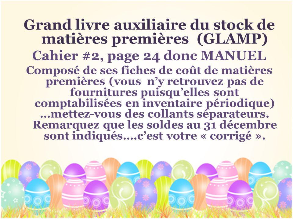 Grand livre auxiliaire du stock de matières premières (GLAMP) Cahier #2, page 24 donc MANUEL Composé de ses fiches de coût de matières premières (vous