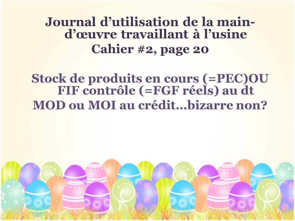 Journal dutilisation de la main- dœuvre travaillant à lusine Cahier #2, page 20 Stock de produits en cours (=PEC)OU FIF contrôle (=FGF réels) au dt MO