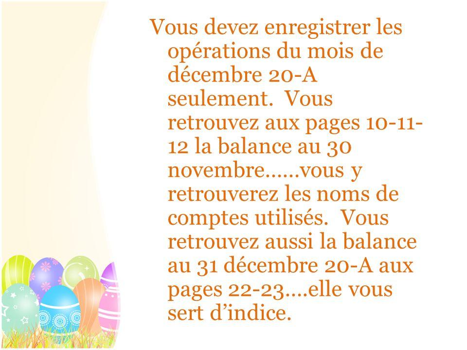 Vous devez enregistrer les opérations du mois de décembre 20-A seulement. Vous retrouvez aux pages 10-11- 12 la balance au 30 novembre……vous y retrouv
