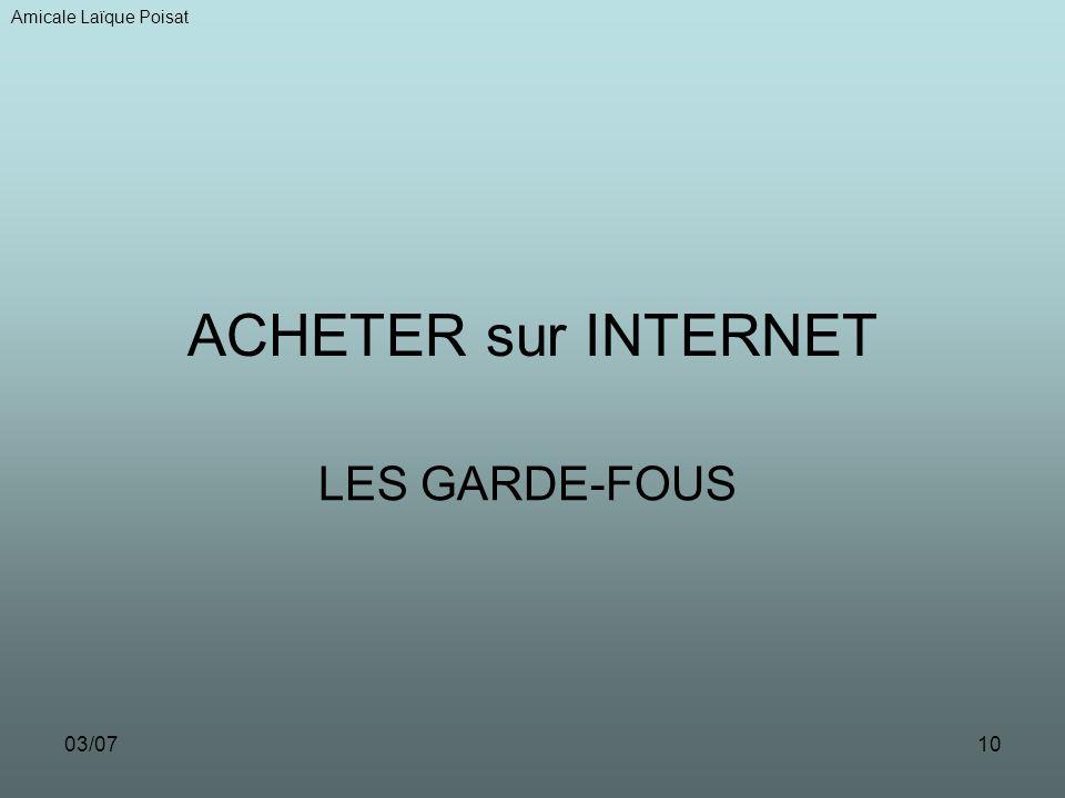 03/0710 ACHETER sur INTERNET LES GARDE-FOUS Amicale Laïque Poisat
