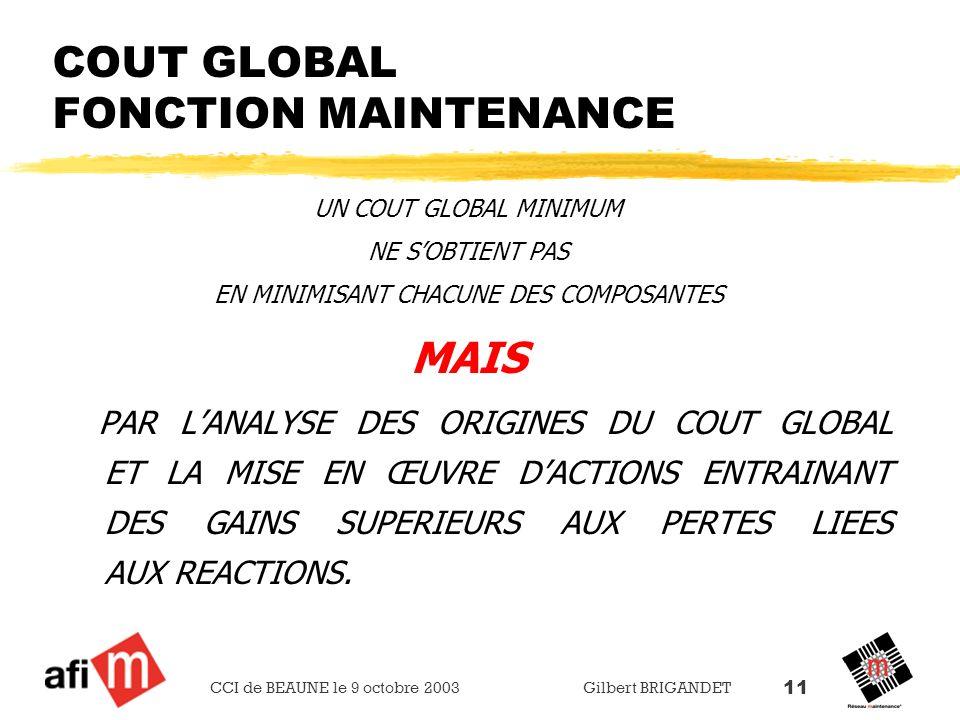 CCI de BEAUNE le 9 octobre 2003 Gilbert BRIGANDET 11 COUT GLOBAL FONCTION MAINTENANCE UN COUT GLOBAL MINIMUM NE SOBTIENT PAS EN MINIMISANT CHACUNE DES