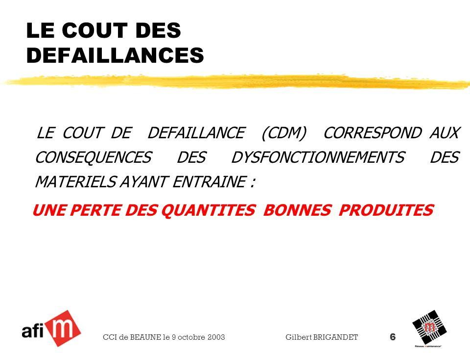 CCI de BEAUNE le 9 octobre 2003 Gilbert BRIGANDET 6 LE COUT DES DEFAILLANCES LE COUT DE DEFAILLANCE (CDM) CORRESPOND AUX CONSEQUENCES DES DYSFONCTIONN
