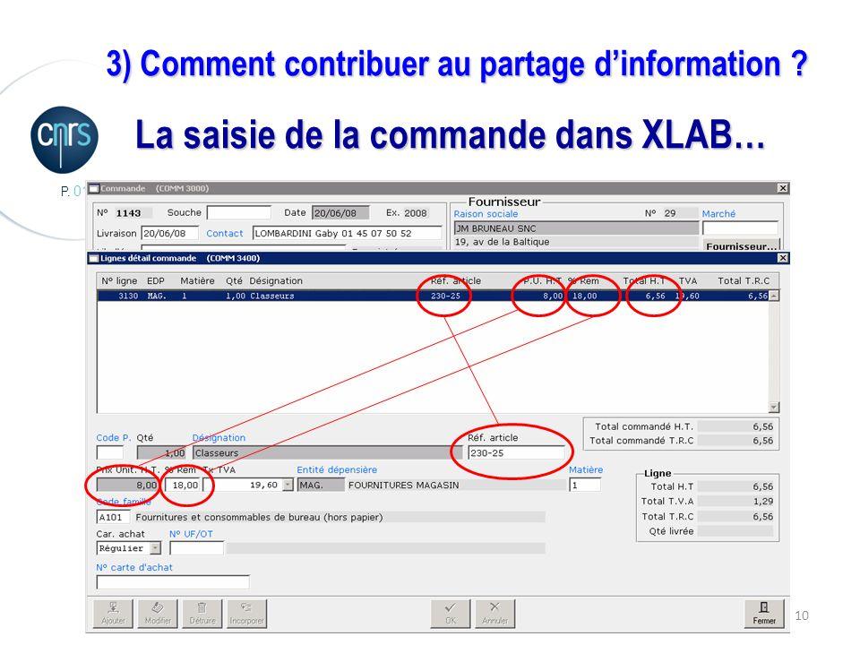 P. 010 10 3) Comment contribuer au partage dinformation La saisie de la commande dans XLAB…