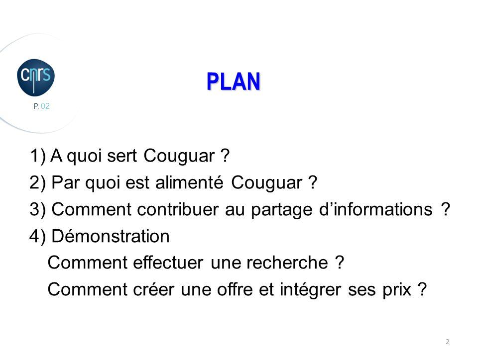 P. 02 2 PLAN 1) A quoi sert Couguar . 2) Par quoi est alimenté Couguar .