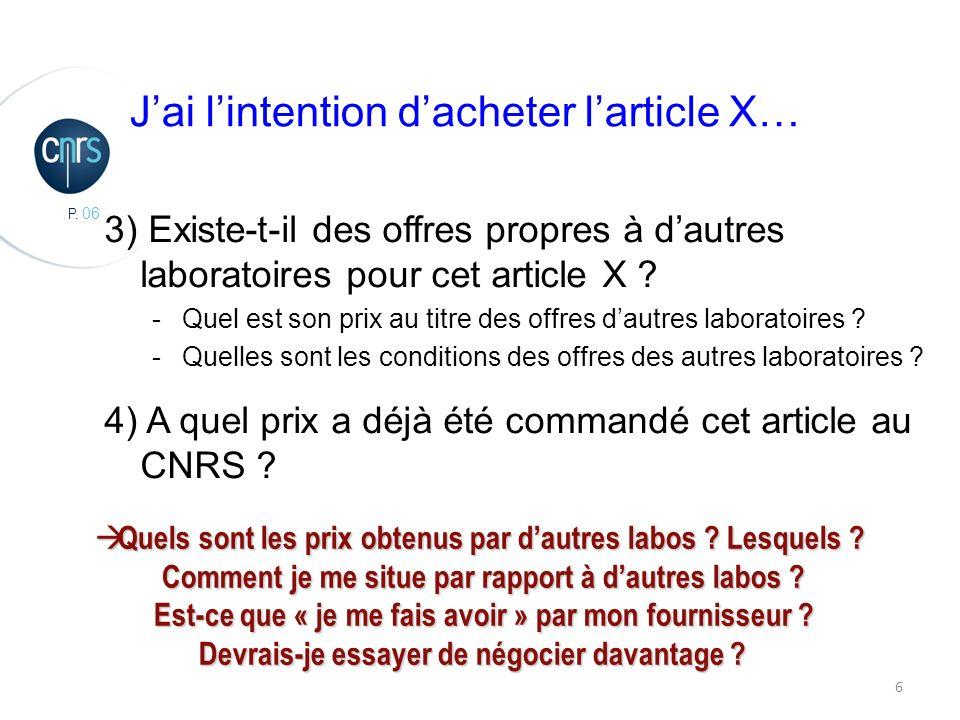 P. 06 6 3) Existe-t-il des offres propres à dautres laboratoires pour cet article X .
