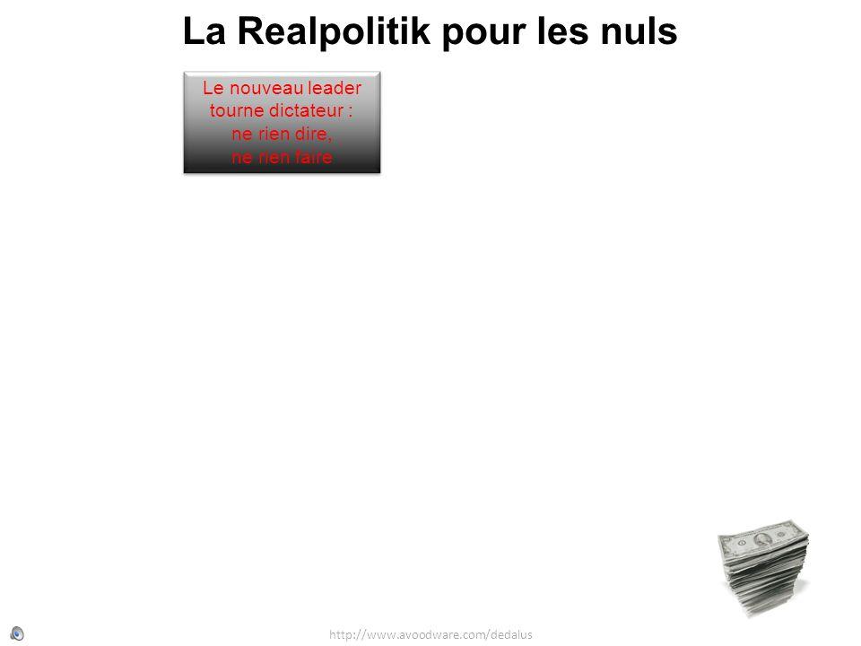 La Realpolitik pour les nuls http://www.avoodware.com/dedalus Le nouveau leader tourne dictateur : ne rien dire, ne rien faire Le nouveau leader tourn