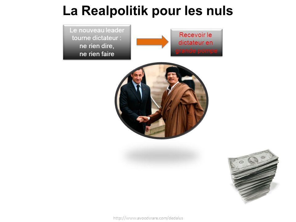 La Realpolitik pour les nuls http://www.avoodware.com/dedalus Recevoir le dictateur en grande pompe Recevoir le dictateur en grande pompe Acheter du pétrole au dictateur et lui vendre des armes quil paie avec largent du pétrole Acheter du pétrole au dictateur et lui vendre des armes quil paie avec largent du pétrole Le nouveau leader tourne dictateur : ne rien dire, ne rien faire Le nouveau leader tourne dictateur : ne rien dire, ne rien faire