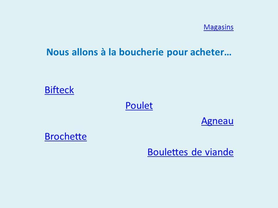 Magasins Nous allons à la boucherie pour acheter… Bifteck Poulet Agneau Brochette Boulettes de viande