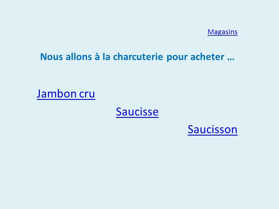 Magasins Nous allons à la charcuterie pour acheter … Jambon cru Saucisse Saucisson