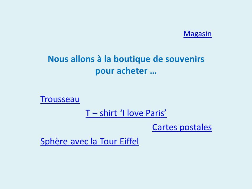 Magasin Nous allons à la boutique de souvenirs pour acheter … Trousseau T – shirt I love Paris Cartes postales Sphère avec la Tour Eiffel