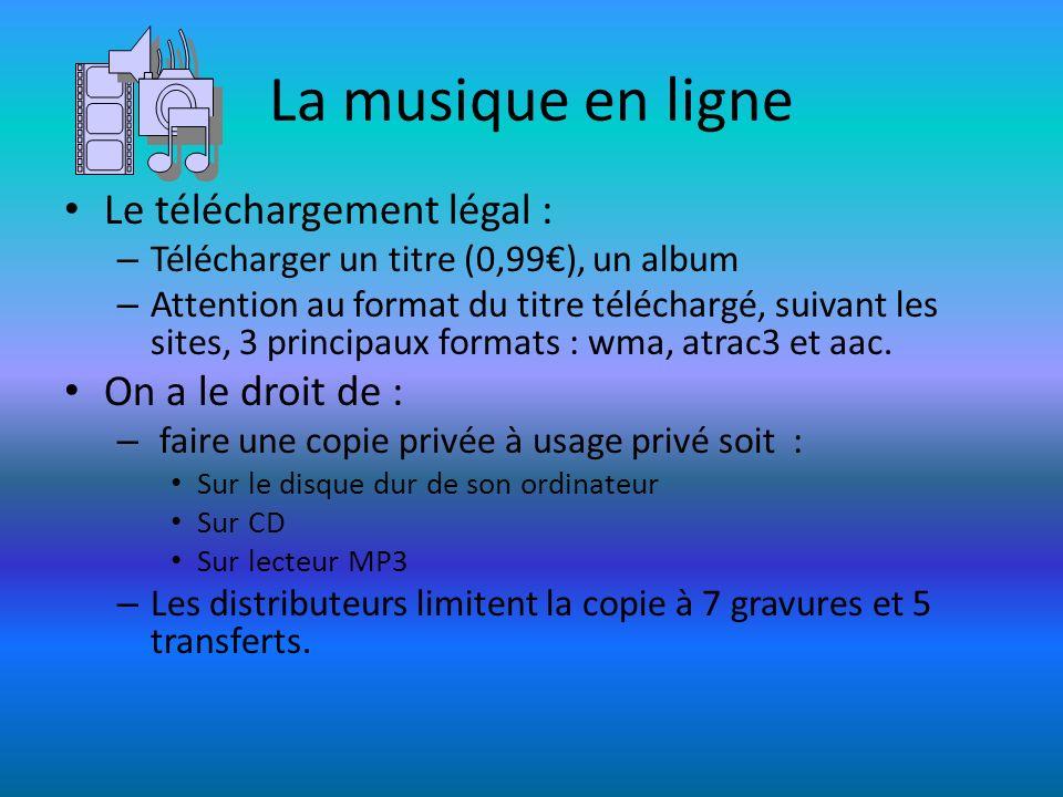 La musique en ligne Le téléchargement légal : – Télécharger un titre (0,99), un album – Attention au format du titre téléchargé, suivant les sites, 3