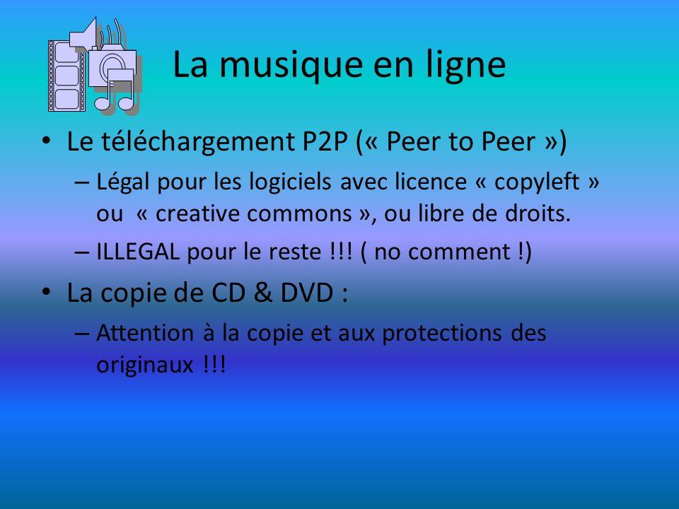 La musique en ligne Le téléchargement P2P (« Peer to Peer ») – Légal pour les logiciels avec licence « copyleft » ou « creative commons », ou libre de