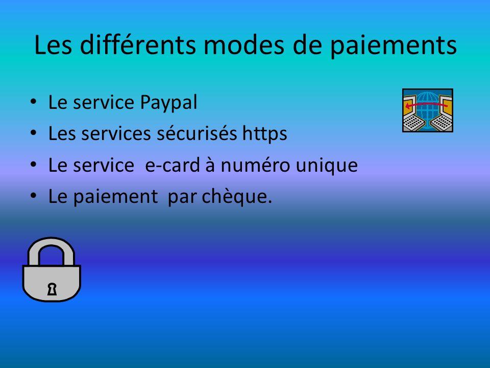 Les différents modes de paiements Le service Paypal Les services sécurisés https Le service e-card à numéro unique Le paiement par chèque.