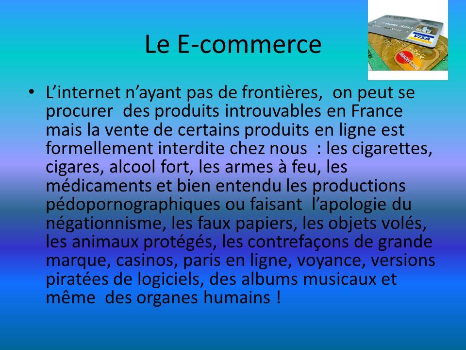 Le E-commerce Linternet nayant pas de frontières, on peut se procurer des produits introuvables en France mais la vente de certains produits en ligne