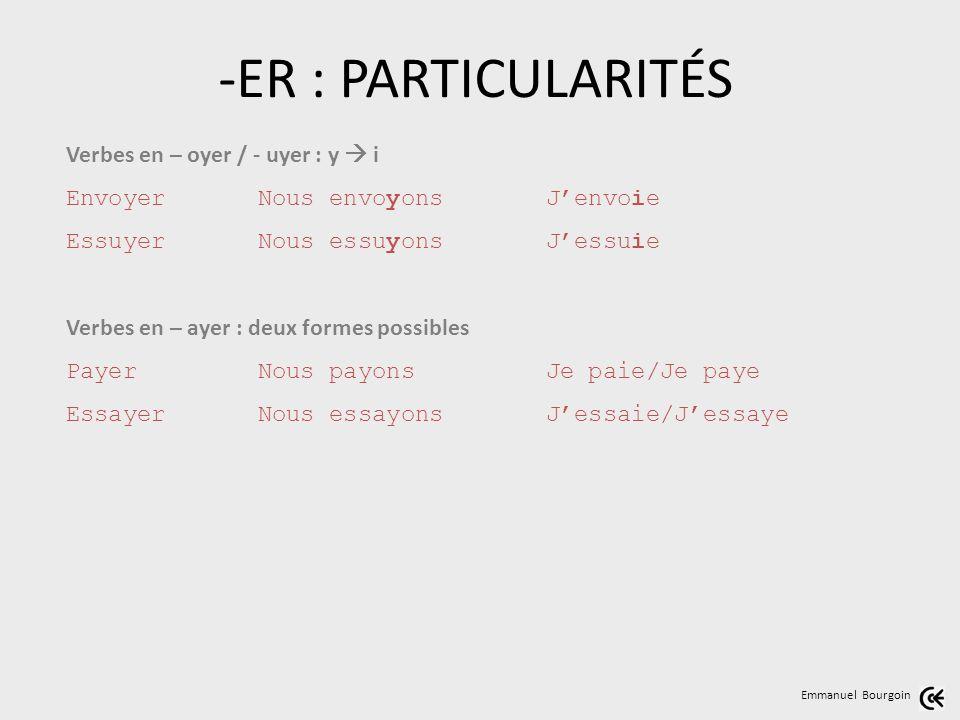 Emmanuel Bourgoin Verbes en – oyer / - uyer : y i EnvoyerNous envoyonsJenvoie EssuyerNous essuyonsJessuie Verbes en – ayer : deux formes possibles Pay
