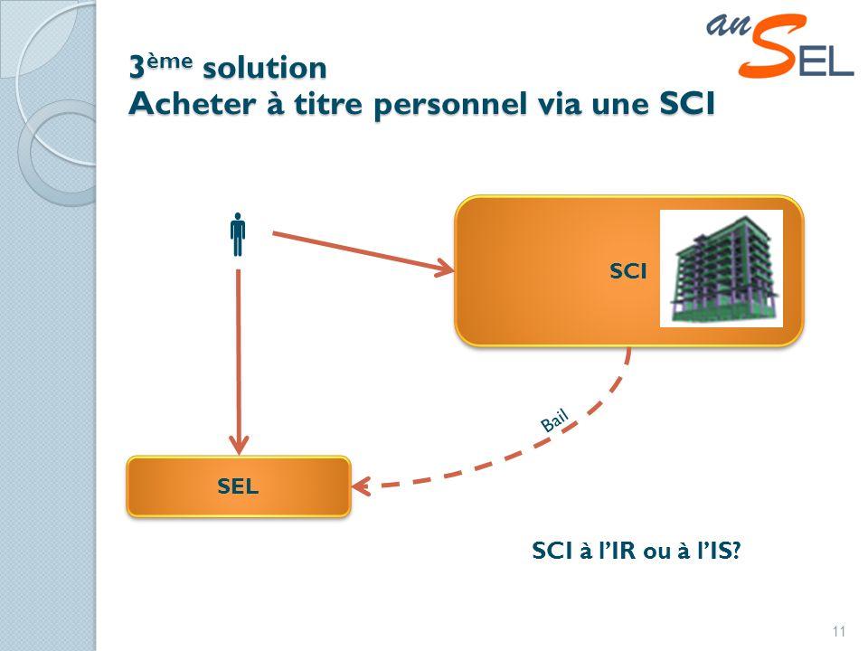 SCI 3 ème solution Acheter à titre personnel via une SCI 11 SEL Bail SCI à lIR ou à lIS
