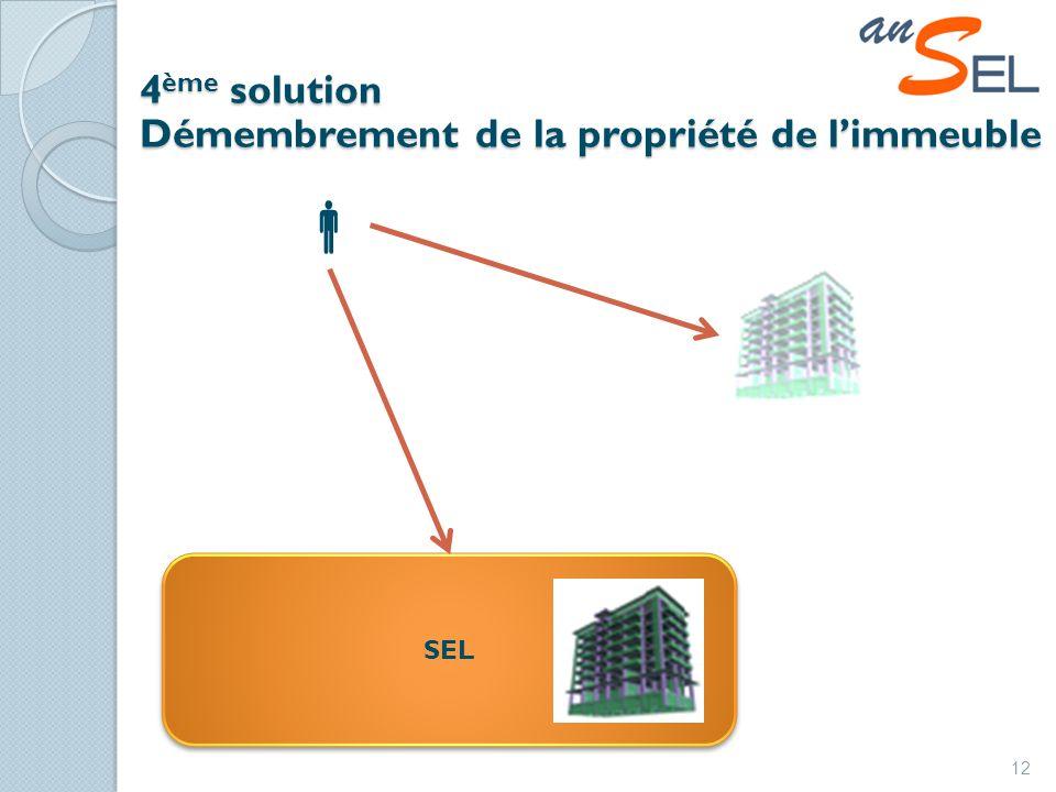 4 ème solution Démembrement de la propriété de limmeuble 12 SEL