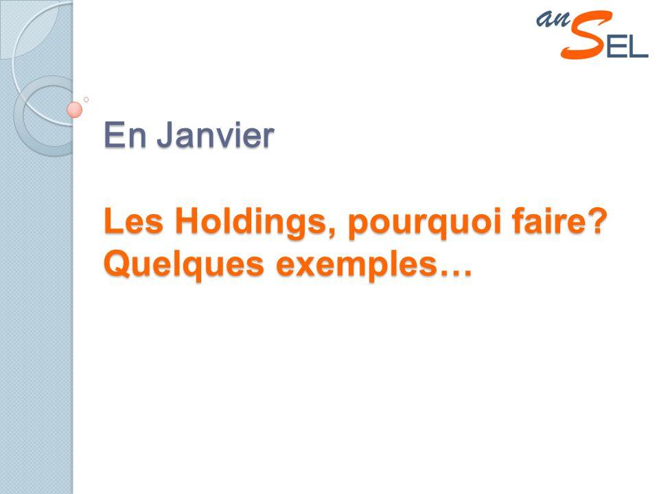 En Janvier Les Holdings, pourquoi faire Quelques exemples…