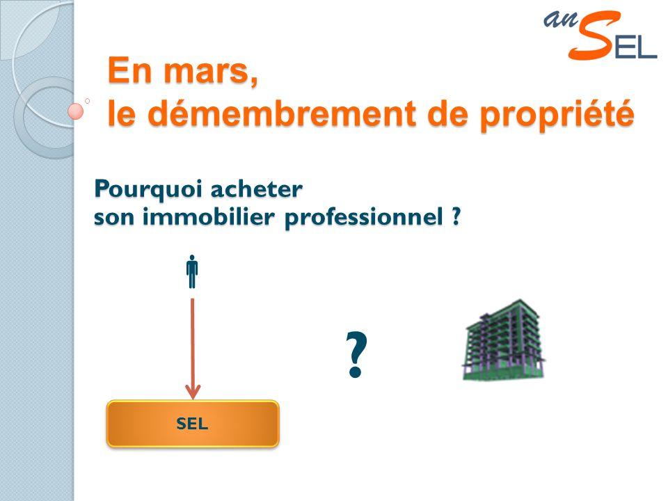 En mars, le démembrement de propriété Pourquoi acheter son immobilier professionnel SEL