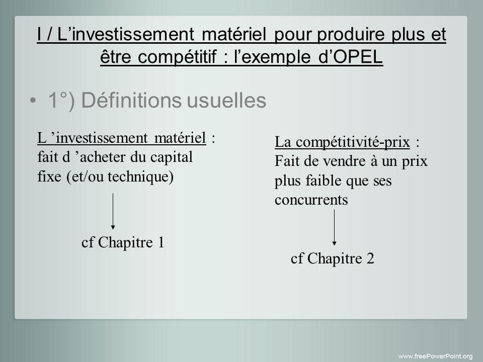 I / Linvestissement matériel pour produire plus et être compétitif : lexemple dOPEL 1°) Définitions usuelles La compétitivité-prix : Fait de vendre à un prix plus faible que ses concurrents L investissement matériel : fait d acheter du capital fixe (et/ou technique) cf Chapitre 1 cf Chapitre 2