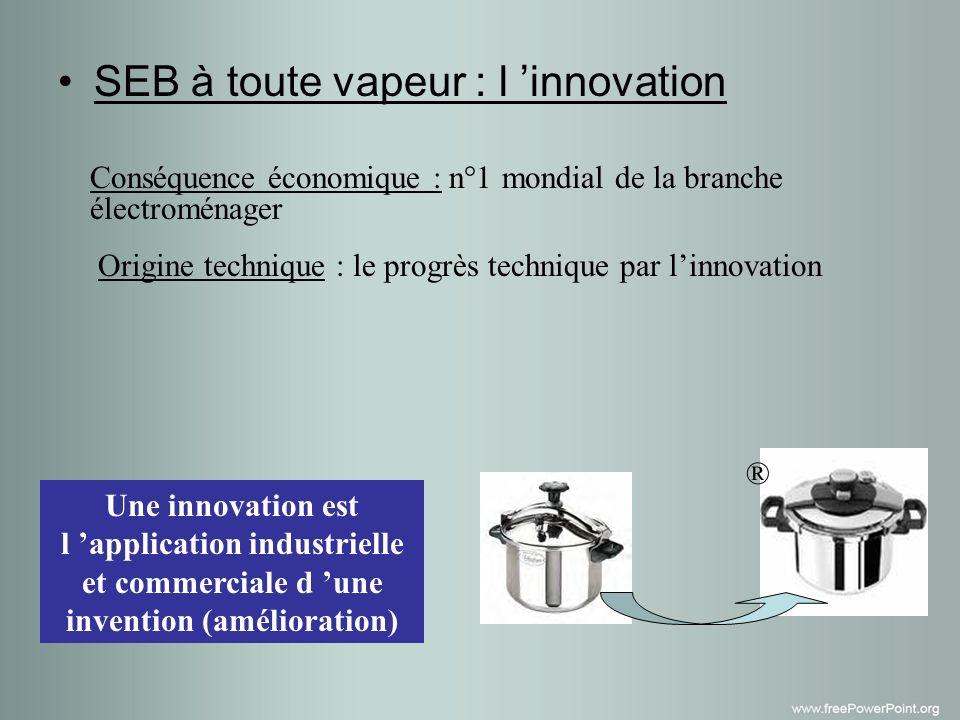 SEB à toute vapeur : l innovation Conséquence économique : n°1 mondial de la branche électroménager Origine technique : le progrès technique par linnovation Une innovation est l application industrielle et commerciale d une invention (amélioration) ®