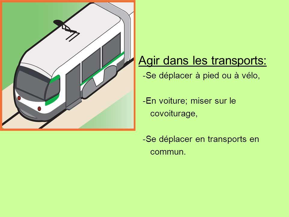 Agir dans les transports: -Se déplacer à pied ou à vélo, -En voiture; miser sur le covoiturage, -Se déplacer en transports en commun.