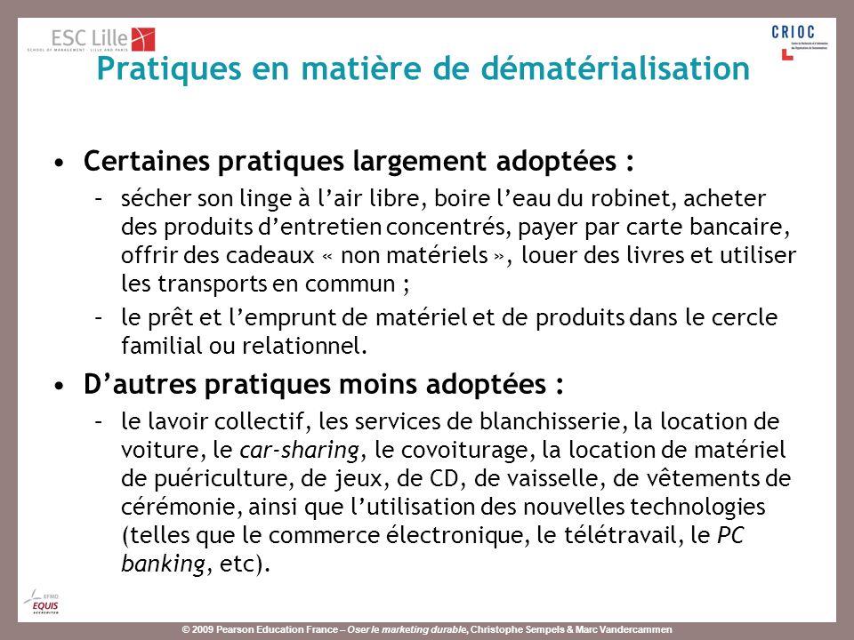 © 2009 Pearson Education France – Oser le marketing durable, Christophe Sempels & Marc Vandercammen Certaines pratiques largement adoptées : –sécher s