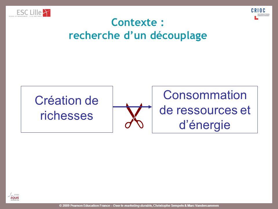 © 2009 Pearson Education France – Oser le marketing durable, Christophe Sempels & Marc Vandercammen Création de richesses Consommation de ressources e