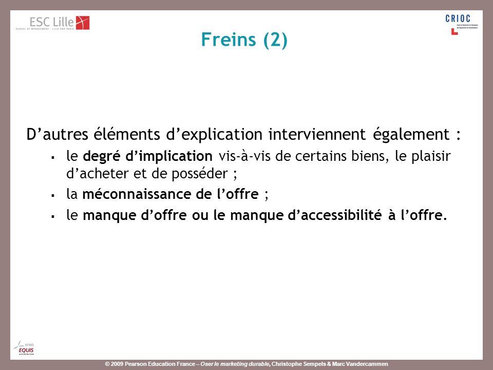 © 2009 Pearson Education France – Oser le marketing durable, Christophe Sempels & Marc Vandercammen Dautres éléments dexplication interviennent égalem