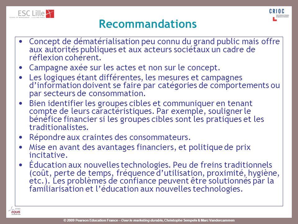 © 2009 Pearson Education France – Oser le marketing durable, Christophe Sempels & Marc Vandercammen Concept de dématérialisation peu connu du grand pu