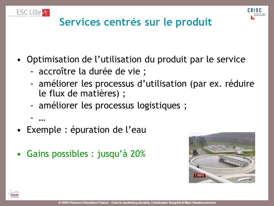 © 2009 Pearson Education France – Oser le marketing durable, Christophe Sempels & Marc Vandercammen Optimisation de lutilisation du produit par le service -accroître la durée de vie ; -améliorer les processus dutilisation (par ex.