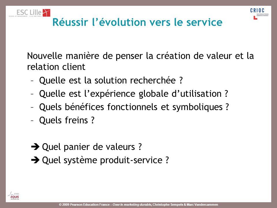 © 2009 Pearson Education France – Oser le marketing durable, Christophe Sempels & Marc Vandercammen Nouvelle manière de penser la création de valeur et la relation client –Quelle est la solution recherchée .