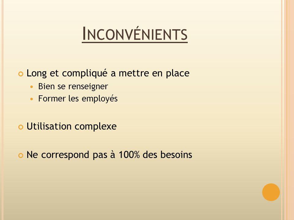 I NCONVÉNIENTS Long et compliqué a mettre en place Bien se renseigner Former les employés Utilisation complexe Ne correspond pas à 100% des besoins