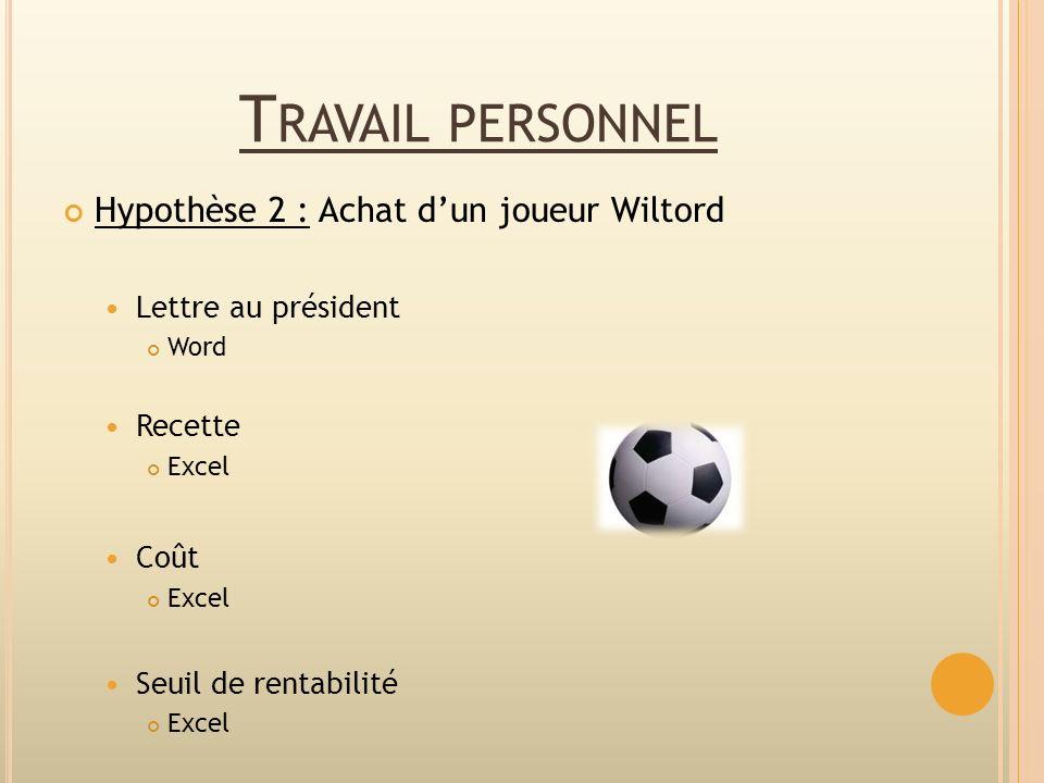 T RAVAIL PERSONNEL Hypothèse 2 : Achat dun joueur Wiltord Lettre au président Word Recette Excel Coût Excel Seuil de rentabilité Excel