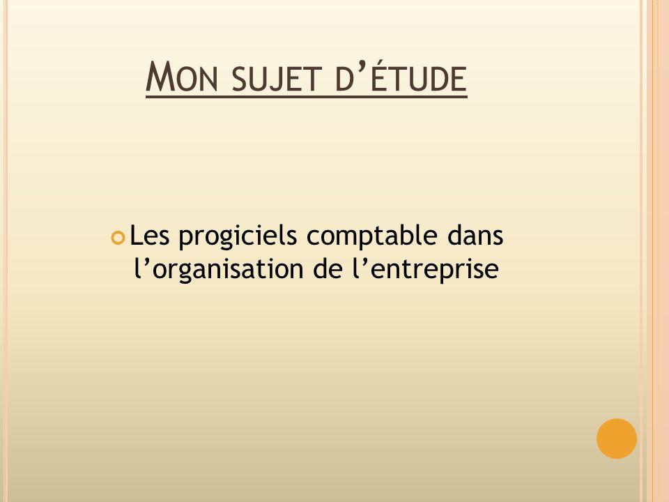 M ON SUJET D ÉTUDE Les progiciels comptable dans lorganisation de lentreprise