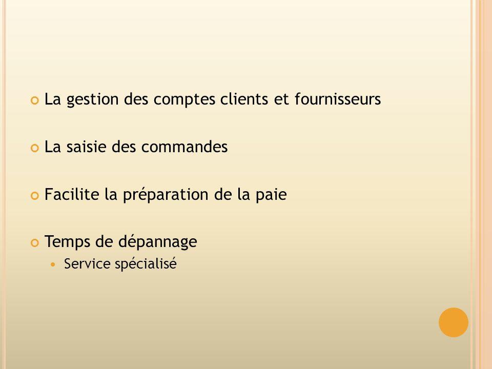 La gestion des comptes clients et fournisseurs La saisie des commandes Facilite la préparation de la paie Temps de dépannage Service spécialisé