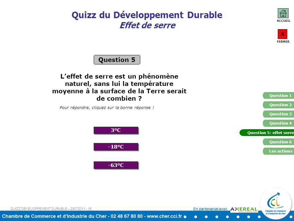 En partenariat avec Quizz du Développement Durable Effet de serre 3°C -63°C Question 5 Pour répondre, cliquez sur la bonne réponse ! -18°C Leffet de s