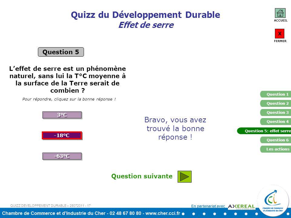 En partenariat avec Quizz du Développement Durable Effet de serre Question 5 Pour répondre, cliquez sur la bonne réponse ! Leffet de serre est un phén