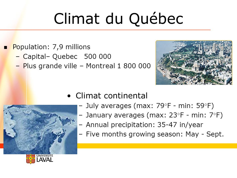 Climat continental –July averages (max: 79°F - min: 59°F) –January averages (max: 23°F - min: 7°F) –Annual precipitation: 35-47 in/year –Five months g