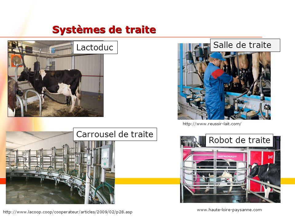Systèmes de traite Lactoduc Salle de traite http://www.reussir-lait.com/ Carrousel de traite http://www.lacoop.coop/cooperateur/articles/2009/02/p28.asp Robot de traite www.haute-loire-paysanne.com