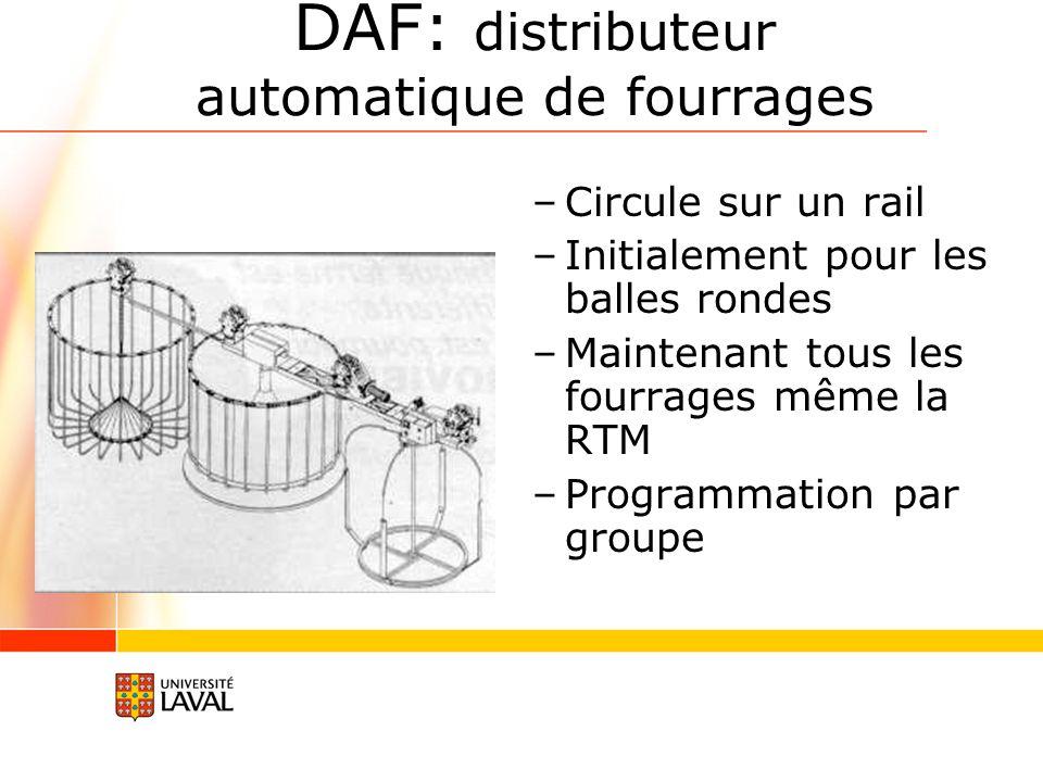 DAF: distributeur automatique de fourrages –Circule sur un rail –Initialement pour les balles rondes –Maintenant tous les fourrages même la RTM –Programmation par groupe