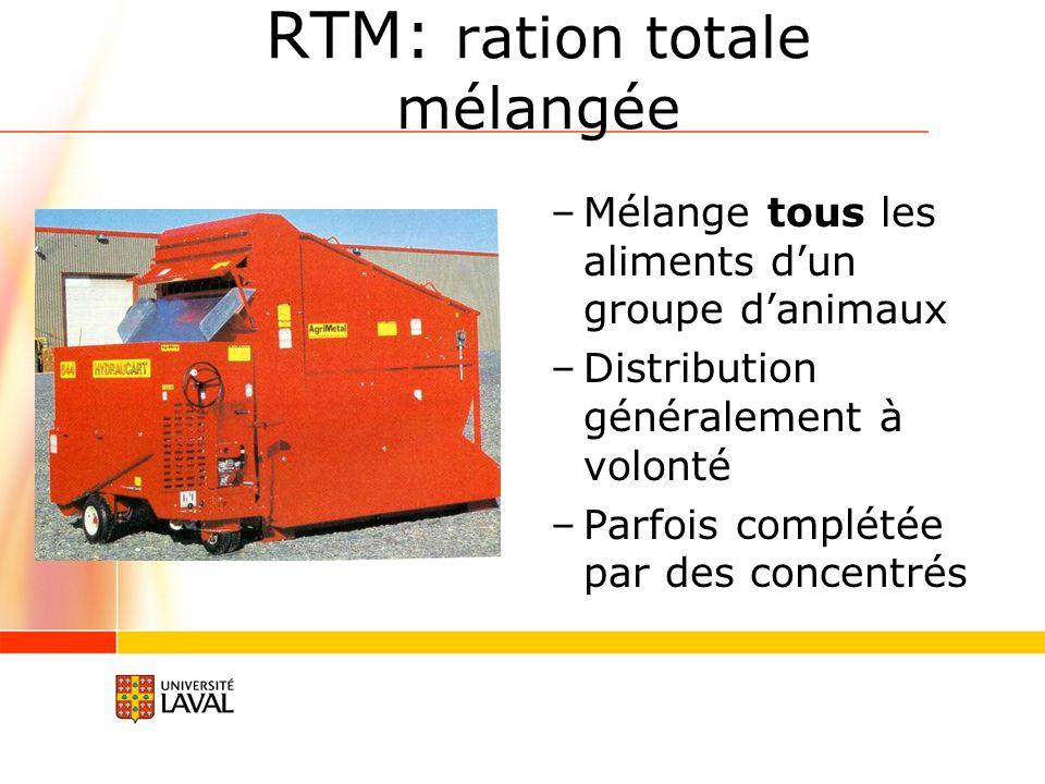 RTM: ration totale mélangée –Mélange tous les aliments dun groupe danimaux –Distribution généralement à volonté –Parfois complétée par des concentrés
