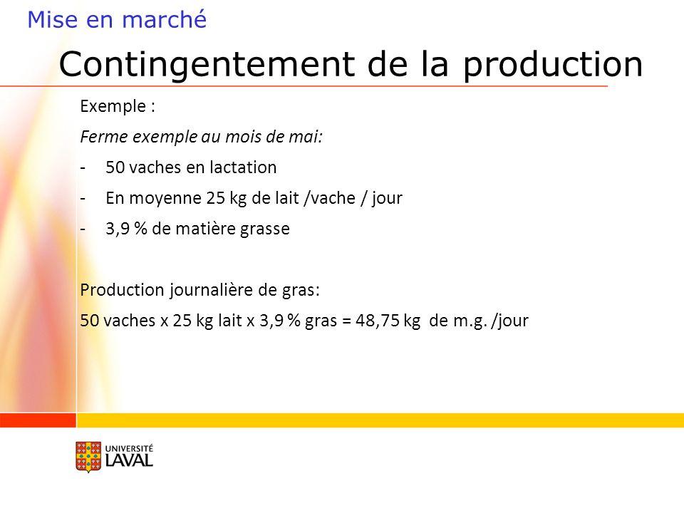Contingentement de la production Exemple : Ferme exemple au mois de mai: -50 vaches en lactation -En moyenne 25 kg de lait /vache / jour -3,9 % de matière grasse Production journalière de gras: 50 vaches x 25 kg lait x 3,9 % gras = 48,75 kg de m.g.