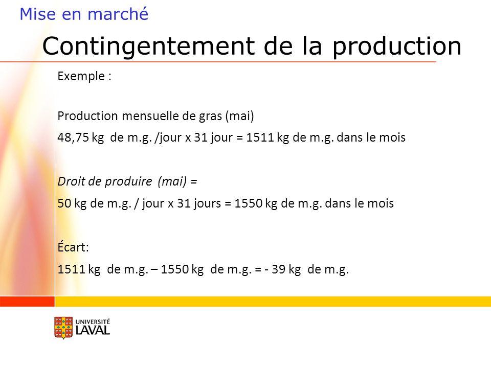 Contingentement de la production Exemple : Production mensuelle de gras (mai) 48,75 kg de m.g.
