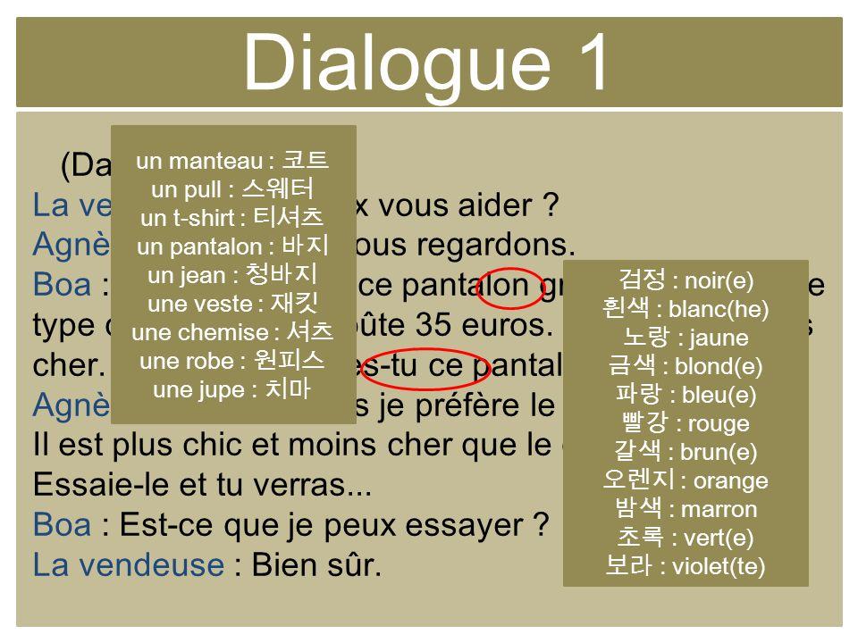 Dialogue 1 (Dans le magasin) La vendeuse : Je peux vous aider ? Agnès : Non, merci, nous regardons. Boa : Agnès, regarde ce pantalon gris. Jaime bien