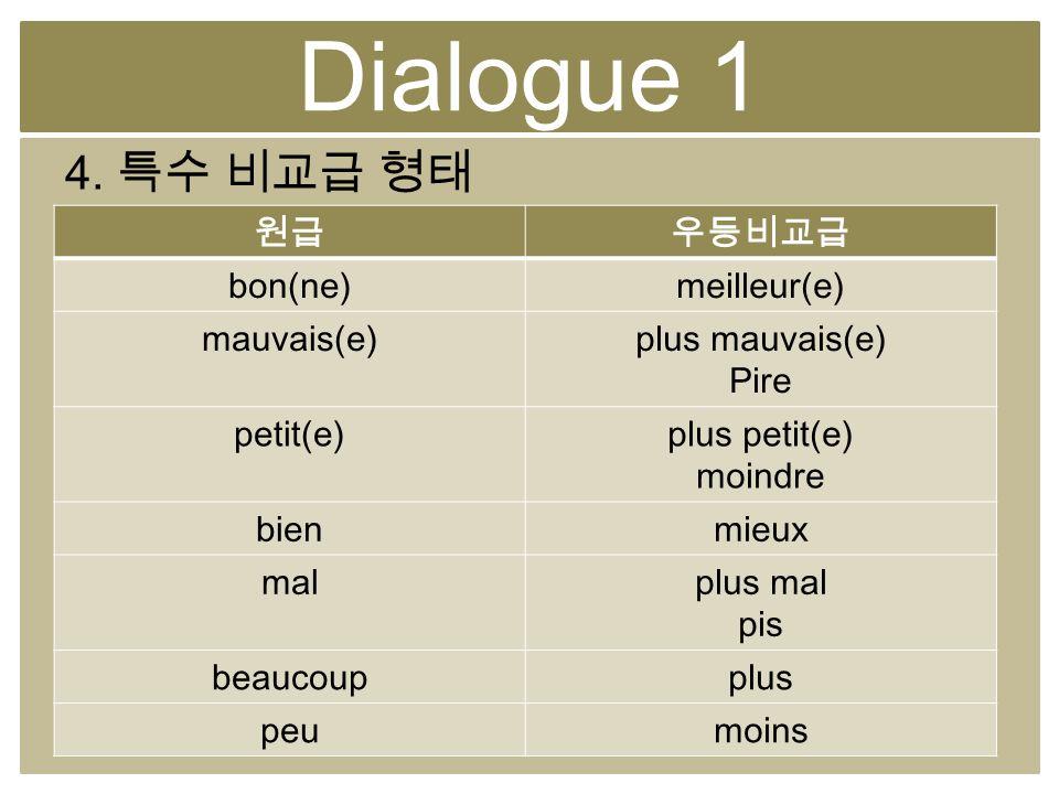 Dialogue 1 4. bon(ne)meilleur(e) mauvais(e)plus mauvais(e) Pire petit(e)plus petit(e) moindre bienmieux malplus mal pis beaucoupplus peumoins