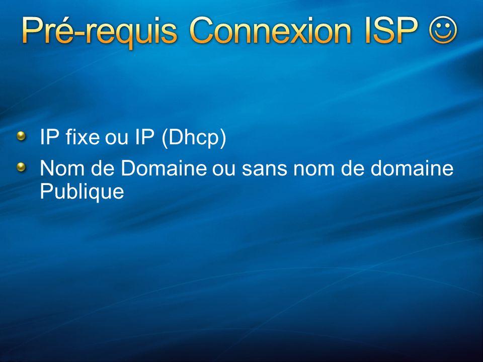 IP fixe ou IP (Dhcp) Nom de Domaine ou sans nom de domaine Publique